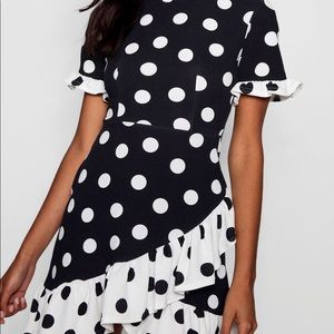 Polka dot asymmetrical ruffle shift dress
